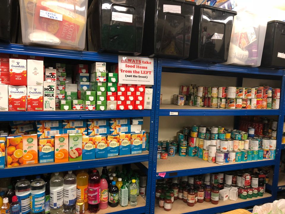 Donations at Bradford Central foodbank, run by the Trussell