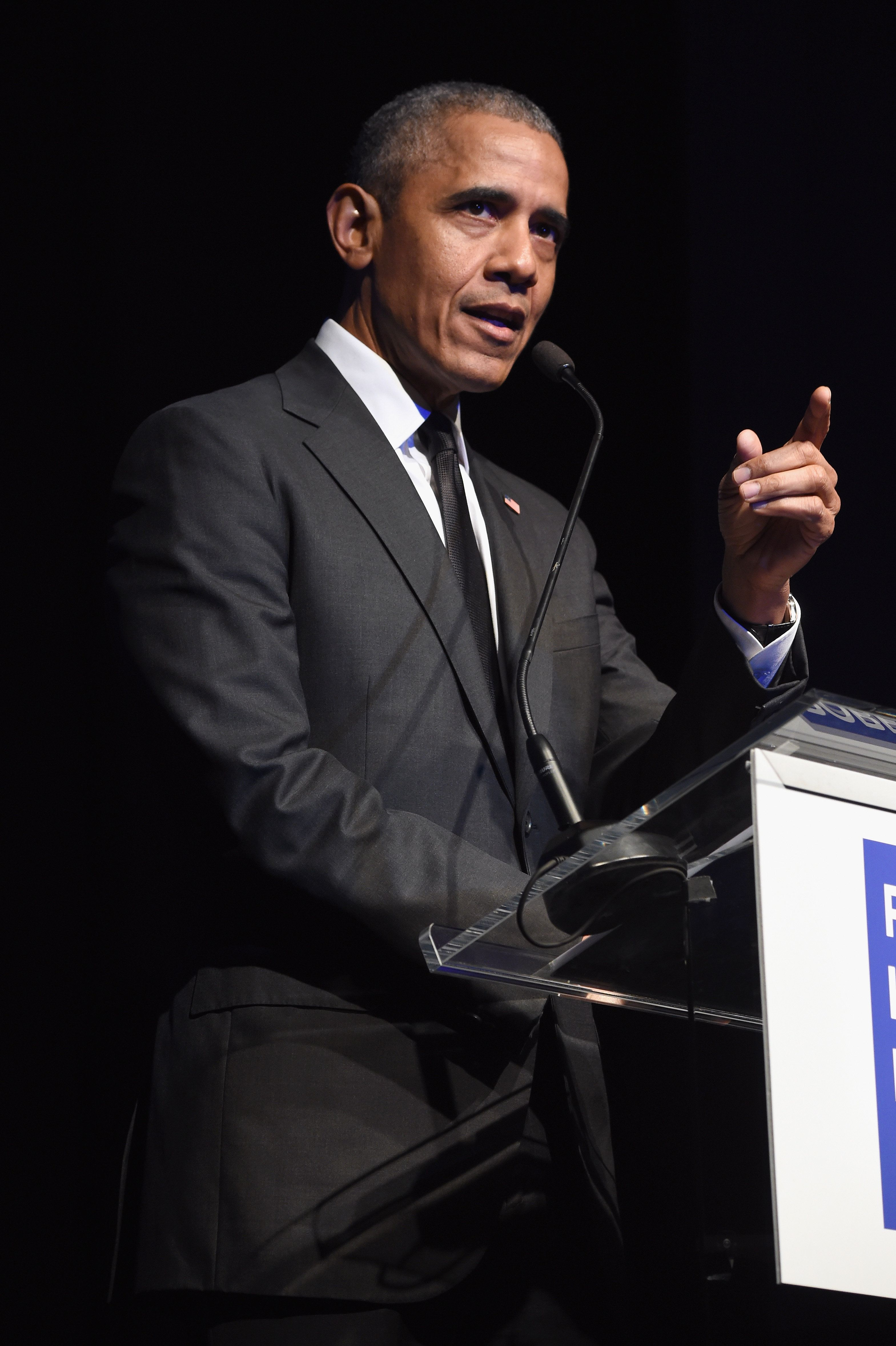 NEW YORK, NY - DECEMBER 12:  Former President Barack Obama speaks onstage during the 2019 Robert F. Kennedy Human Rights Ripple Of Hope Awards on December 12, 2018 in New York City.  (Photo by Kevin Mazur/Getty Images  for  Robert F. Kennedy Human Rights )