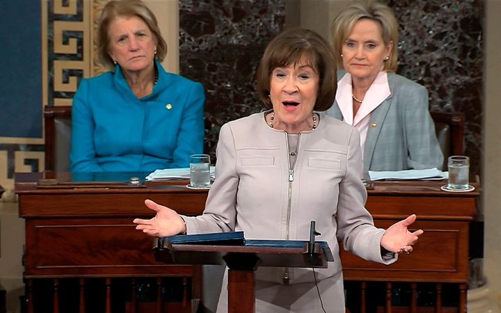 Sen. Susan Collins speaks on the Senate floor about her vote for Supreme Court nominee Brett Kananaugh on Oct. 5.