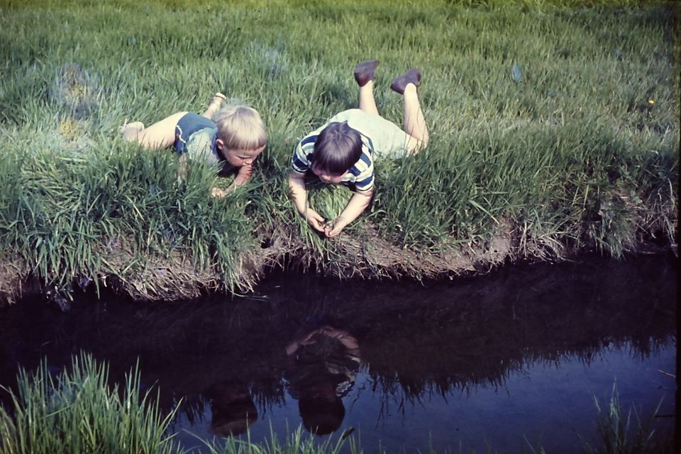 Children playing at the brook at Shadsworth before it became taken over by an industrial estate and