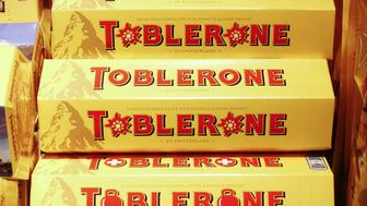 Toblerone chocolate bars, manufactured by Mondelez International Inc., sit on display inside a retailer in Lugano, Switzerland, on Tuesday, Nov. 15, 2016. While the Swiss National Bank (SNB) admitted to interventions to weaken the franc following the Brexit referendum, it declined to comment after the U.S. election last week. Photographer: Stephen Kelly/Bloomberg via Getty Images