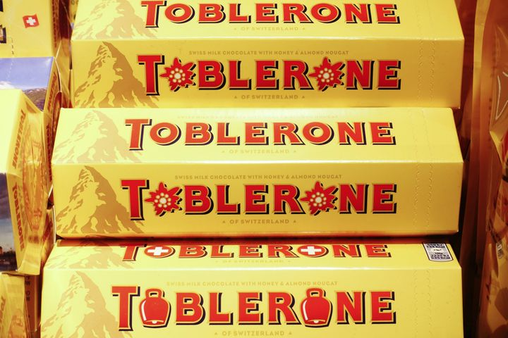 Toblerone chocolate bars, manufactured by Mondelez International Inc., sit on display inside a retailer in Lugano, Switzerlan