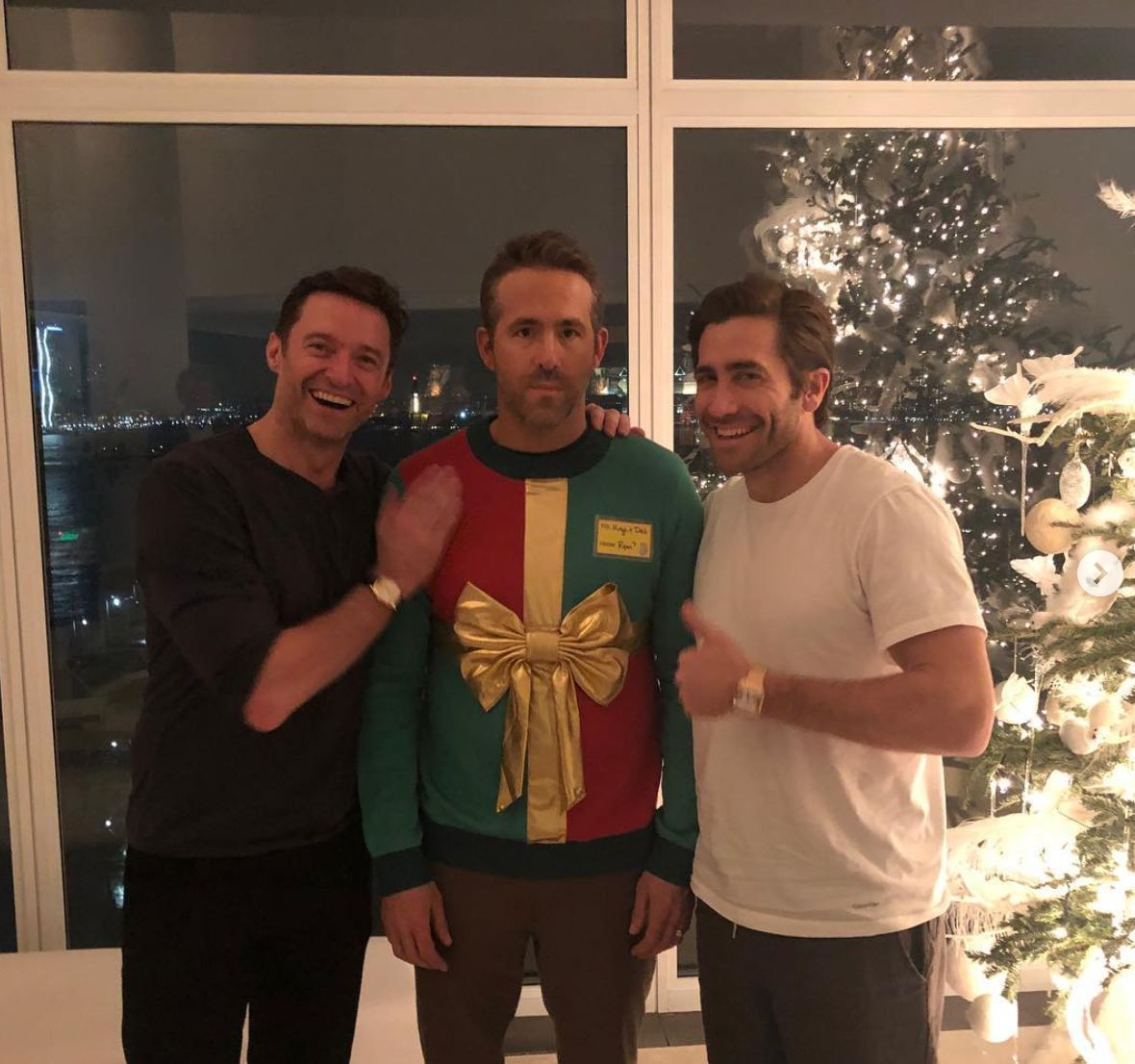 Ryan Reynolds suffers a Christmas prank at the hands of Hugh Jackman and Jake Gyllenhaal.