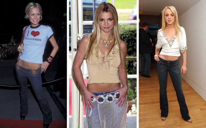 Paris Hilton in 2001, Britney Spears in 2002 and Lindsay Lohan in 2005 — all rocking low-rise jeans.