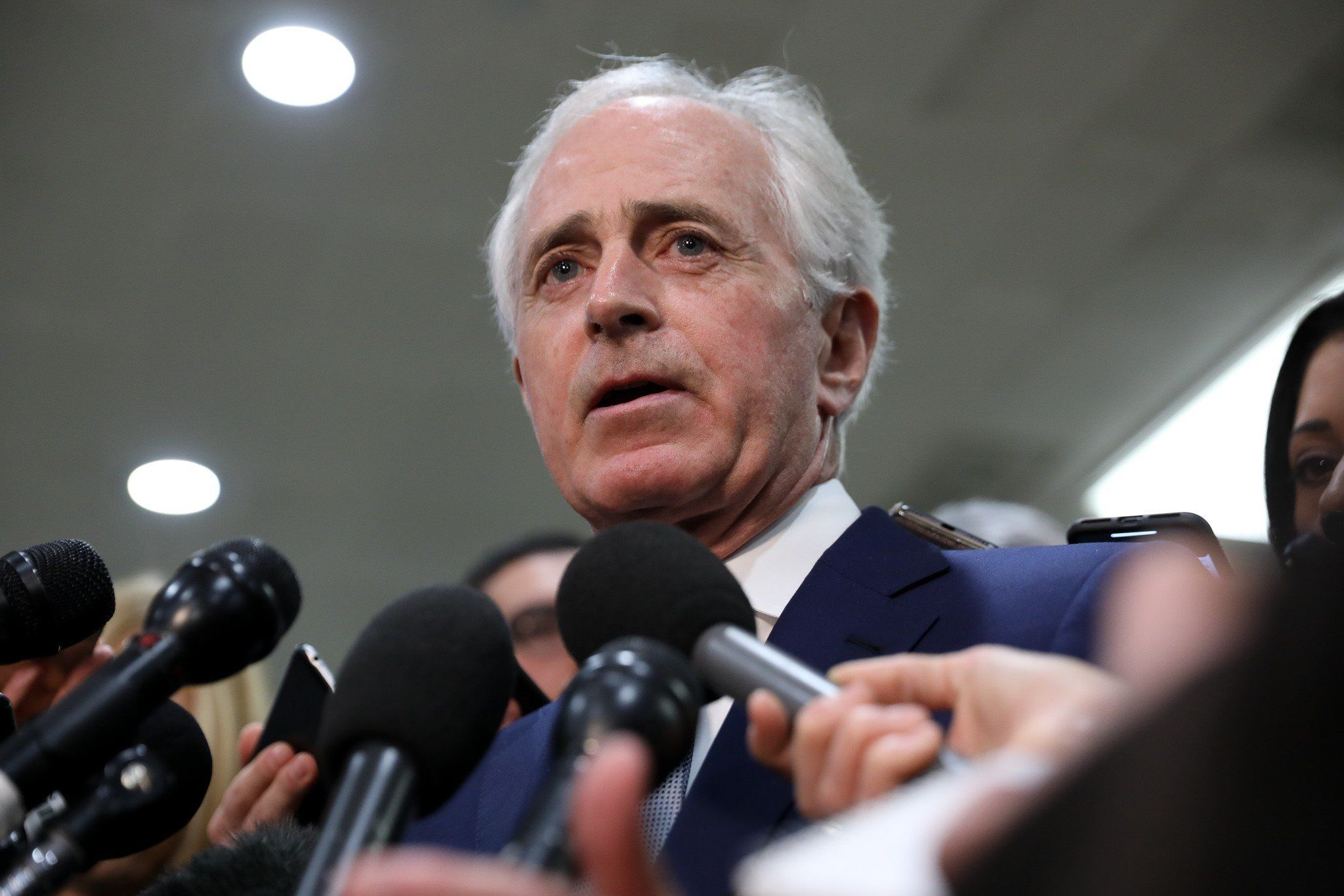 WASHINGTON, USA - DECEMBER 4 :  Senator Bob Corker speaks to journalist  after an intelligence briefing by CIA Director Gina Haspel, on the murder of Jamal Khashoggi in Washington, United States on December 4, 2018. (Photo by Yasin Ozturk/Anadolu Agency/Getty Images)