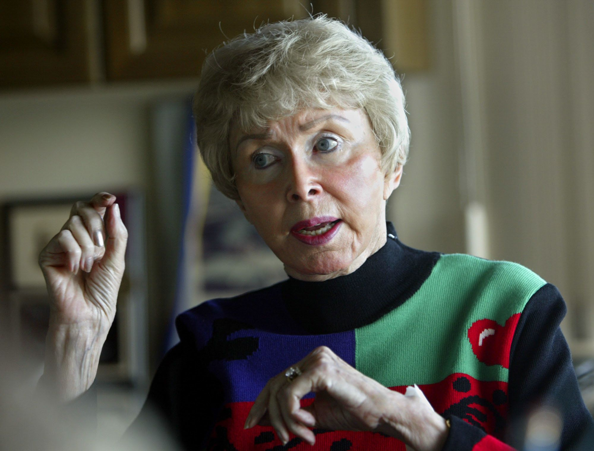 Audrey Geisel, widow of Dr. Seuss creator Theodor Geisel, talks about Dr. Seuss Enterprises at her home in La Jolla area of San Diego Feb. 4, 2004. The 82-year-old heiress has parlayed the popular Seuss characters into a multi-million dollar industry, as the 100th anniversary of her husband's birth approaches.   (AP PHoto/Lenny Ignelzi)