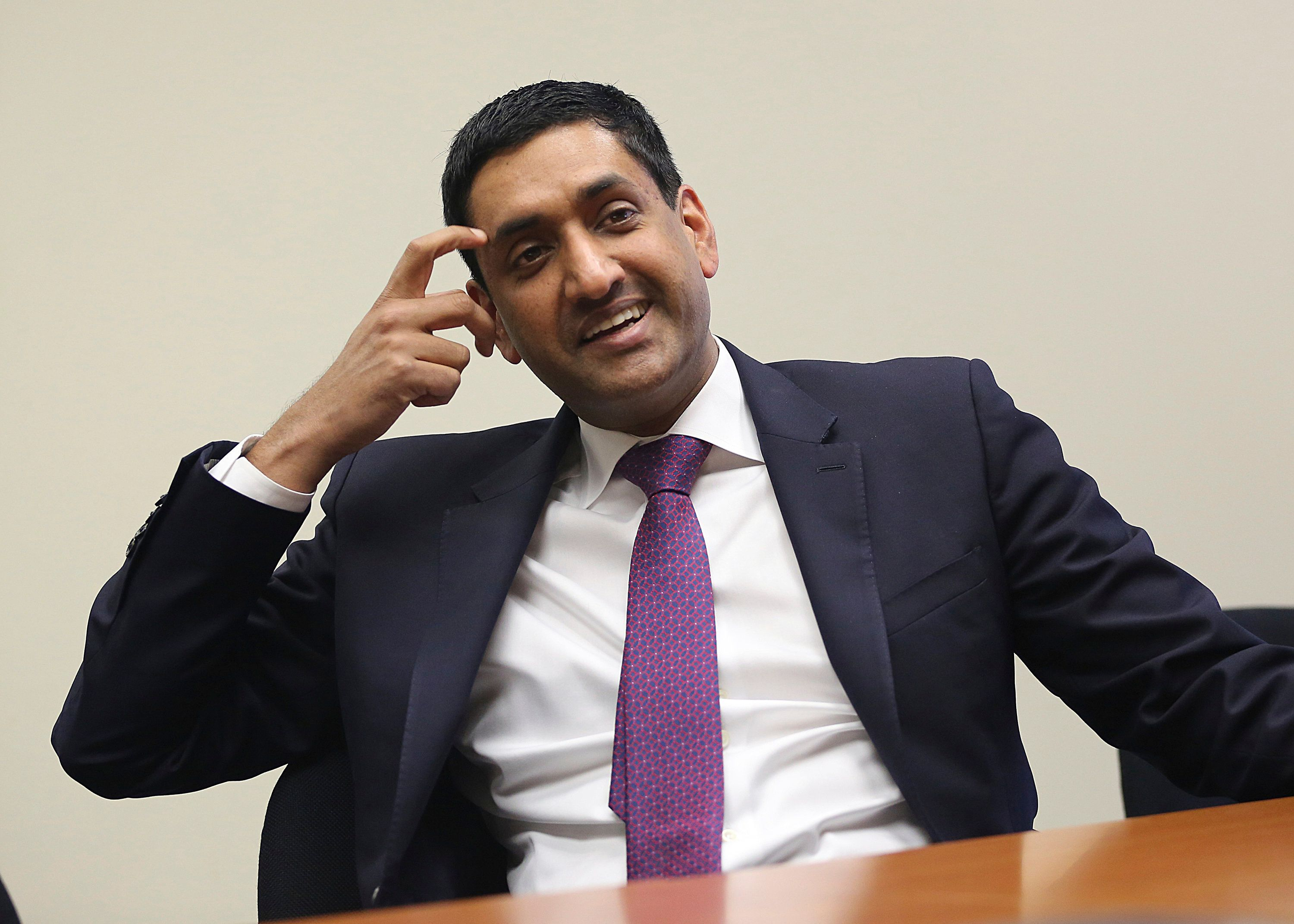 U.S. Rep. Rohit 'Ro' Khanna, from California's 17th Congressional District centered in Santa Clara and other parts of California's Silicon Valley, is interviewed in Los Angeles Friday, Jan. 26, 2018. (AP Photo/Reed Saxon)