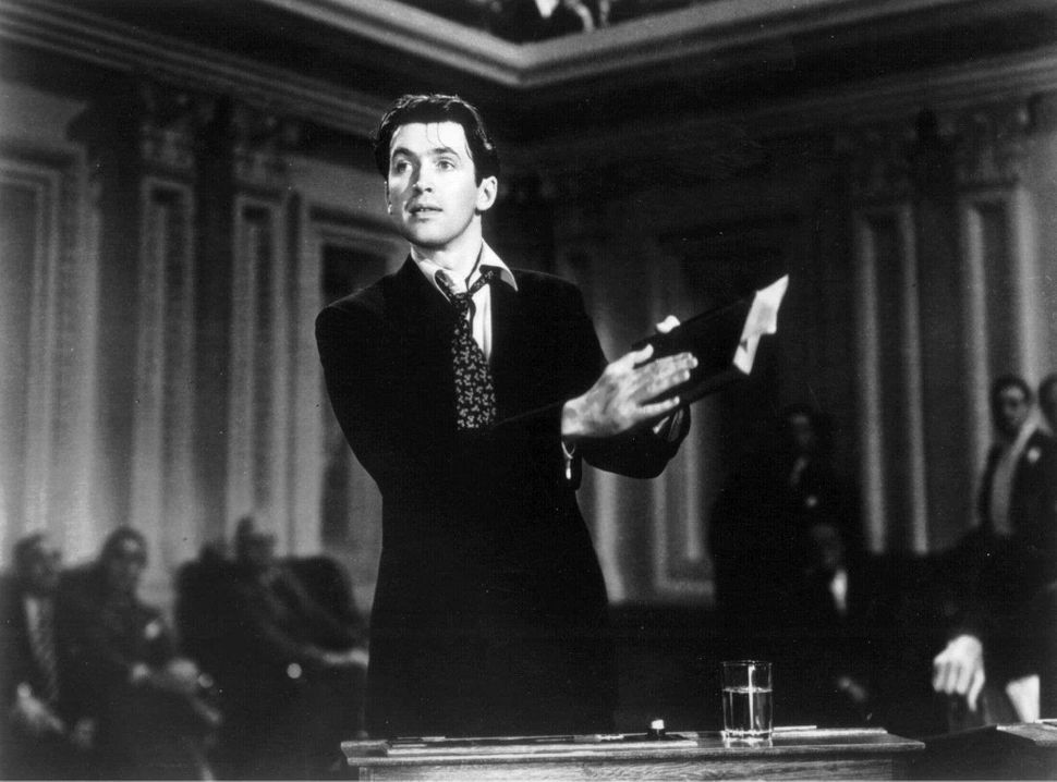 "Actor James Stewart in a scene from the 1939 film ""Mr. Smith Goes to Washington."""