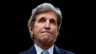 Former Massachusetts Senator John Kerry pauses before speaking at the Forbes 30 Under 30 Summit, Monday, Oct. 1, 2018, in Boston. (AP Photo/Mary Schwalm)