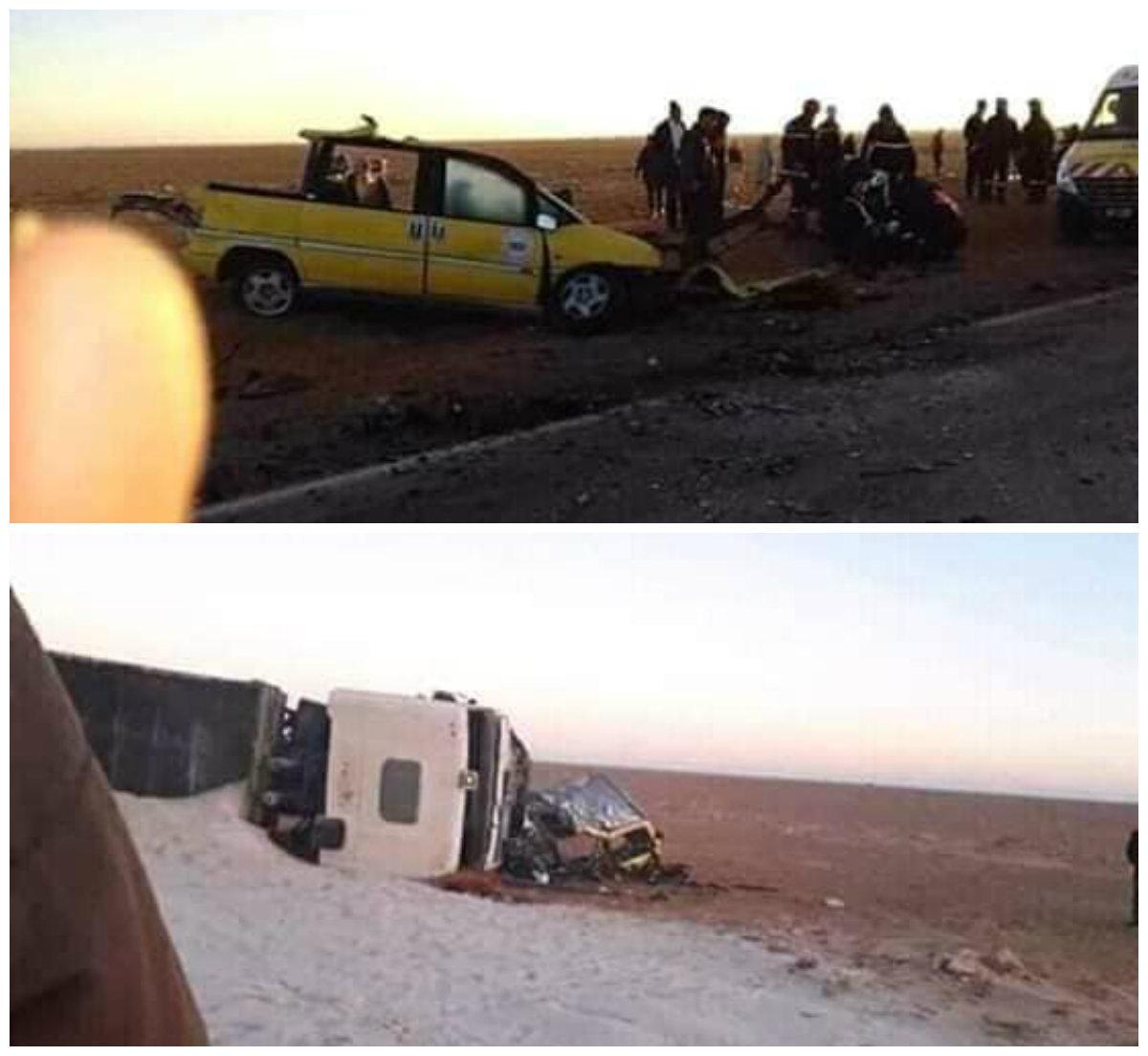 Collision entre un taxi et 2 camions à El Baydh: 8 morts et 2