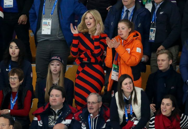Ivanka Trump became a human traffic signal in honor of the 2018 Winter Olympics.