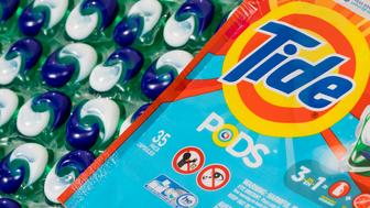"An assortment of Tide laundry detergent pods as seen on January 26, 2018 in Silver Spring, Maryland. The pods have gained notoriety lately due to the so-called ""Tide Pod Challenge"" on social media where people are encouraged to eat the toxic pods. (Photo by Kristoffer Tripplaar/Sipa USA)"