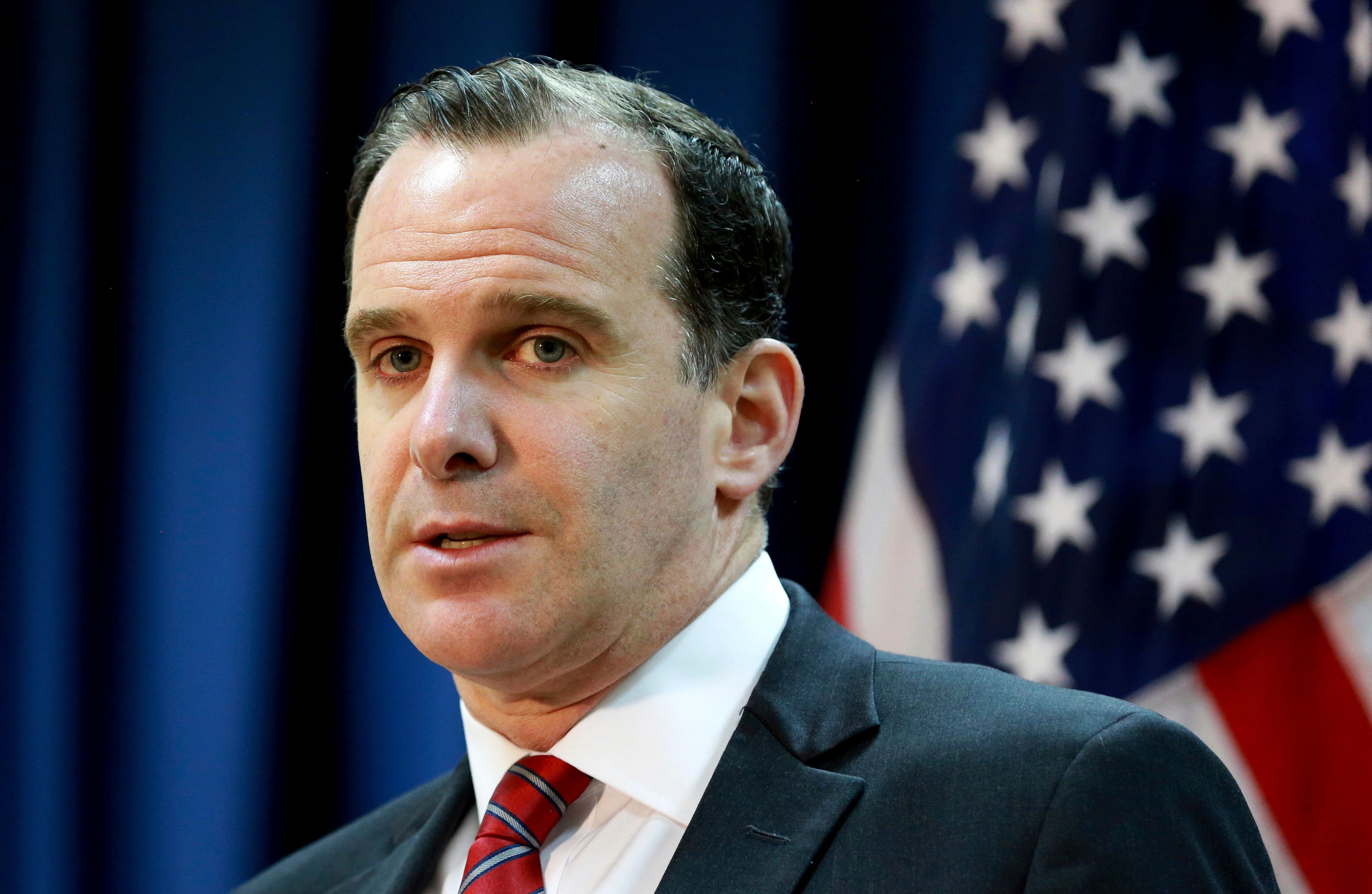 "Brett McGurk, the U.S. envoy for the global coalition against IS, speaks during a press conference at the U.S. Embassy Baghdad, Iraq, Wednesday, June 7, 2017. McGurk says the fight for Raqqa, the Islamic State group's de facto capital, will ""only accelerate"" as the militants lose their grip on Iraq's Mosul. (AP Photo/Hadi Mizban)"