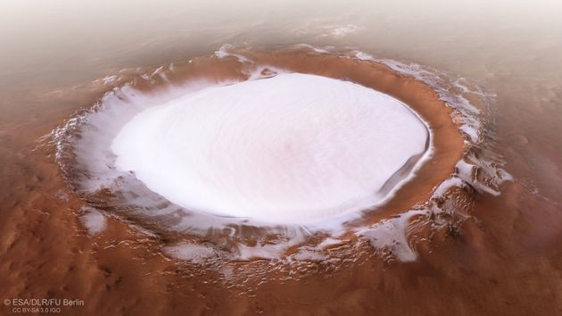 Images of the ice-filled Korolev crater were released by the European Space Agency this