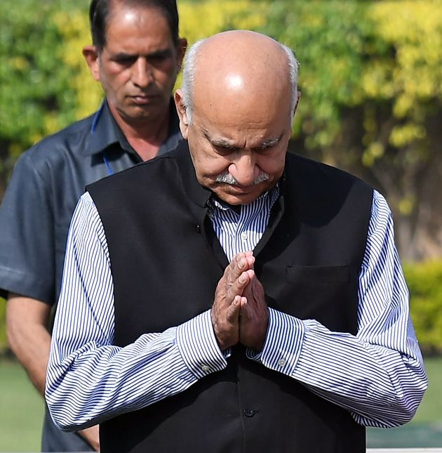 This photo taken on March 10, 2018, shows Indian Minister of State for External Affairs M. J. Akbar offering...