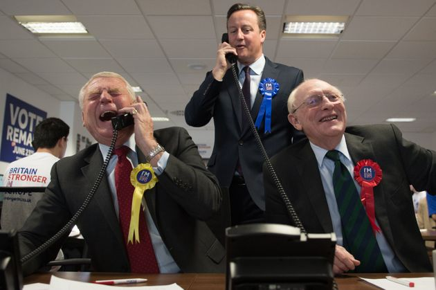 Paddy Ashdown campaigning for Remain in the 2016 referendum, alongside then-PM David Cameron and former...