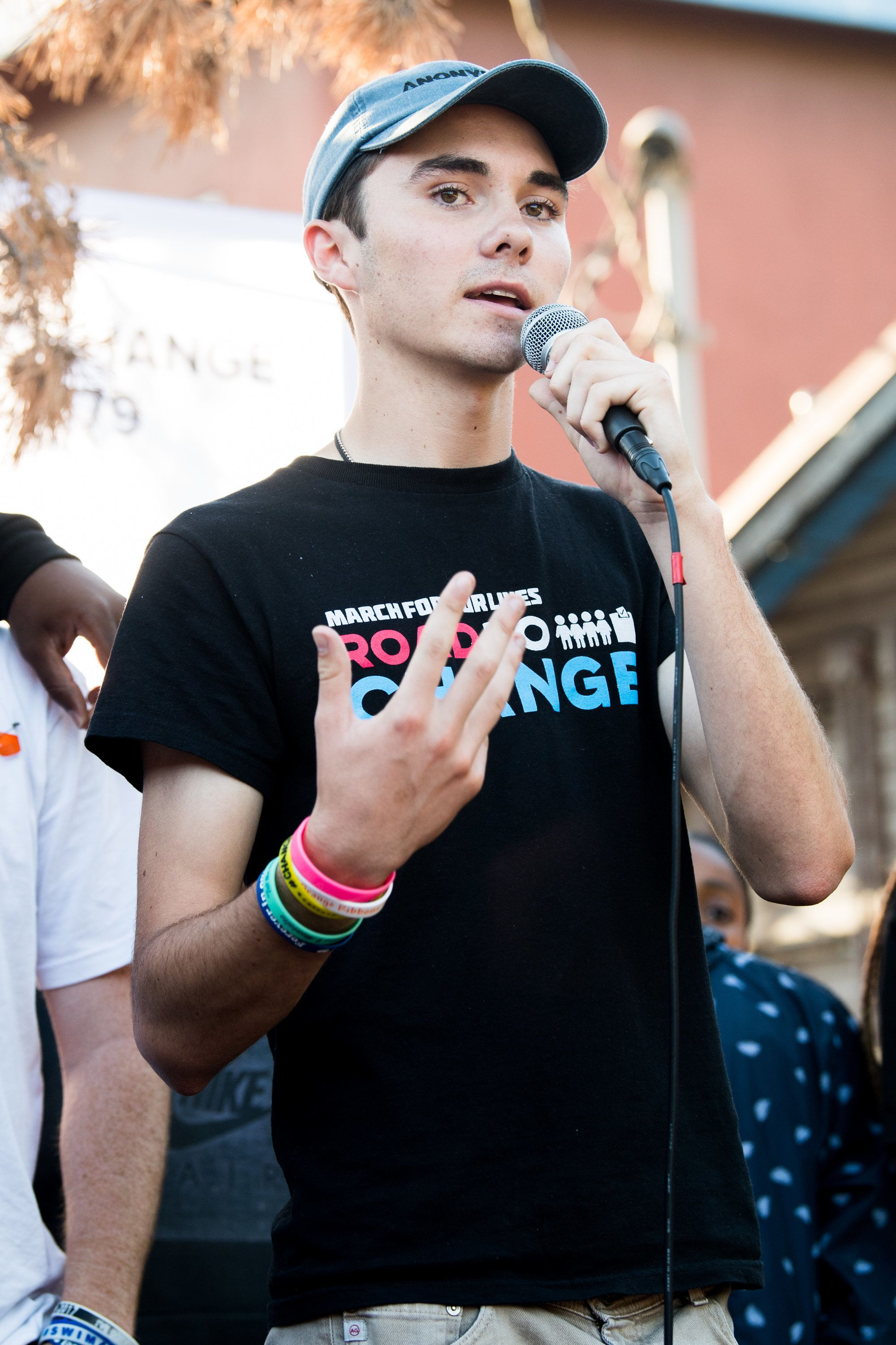LOS ANGELES, CA - JULY 20:  Parkland shooting survivor and activist David Hogg attends 'Women's March Los Angeles hosts March For Our Lives LA: Road to Change & the Parkland survivors & activists' at St. Elmo's Village on July 20, 2018 in Los Angeles, California.  (Photo by Emma McIntyre/Getty Images)