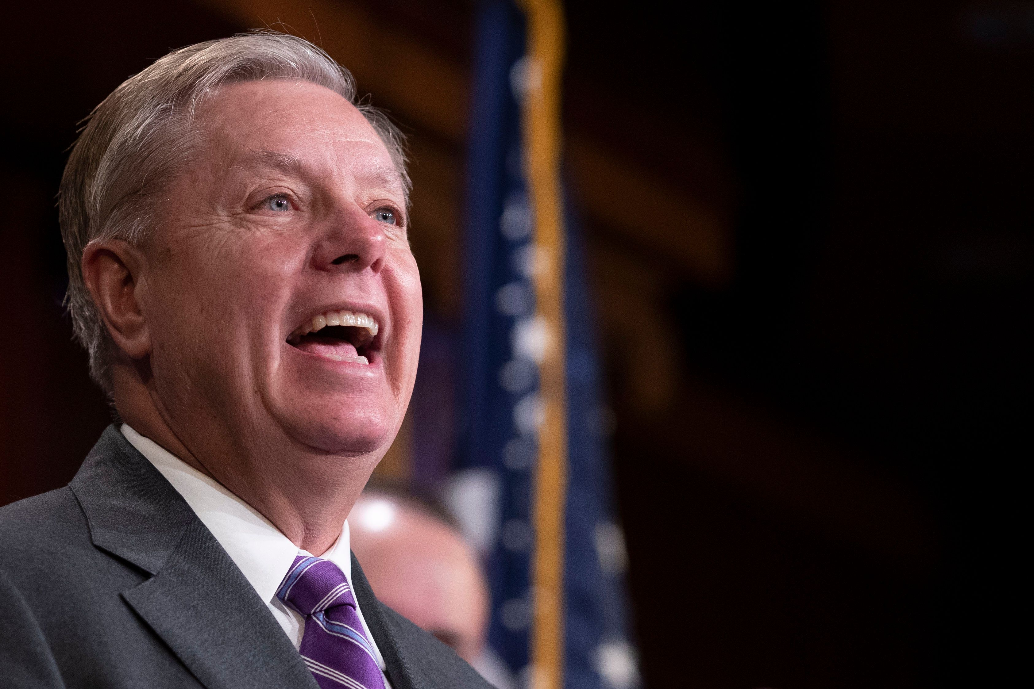 Senator Lindsey Graham, Republican of South Carolina, speaks to reporters during a news conference celebrating the passage of the First Step Act at the United States Capitol in Washington, DC on December 19, 2018. Credit: Alex Edelman / CNP/Sipa USA
