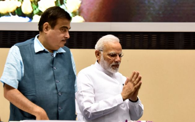 Union Cabinet Minister Nitin Gadkari and Prime Minister Narendra Modi in a file