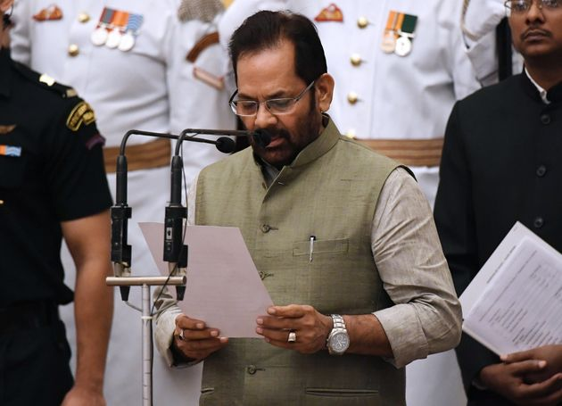 Minority Affairs minister and BJP leader Mukhtar Abbas Naqvi pictured here during his swearing in ceremony...