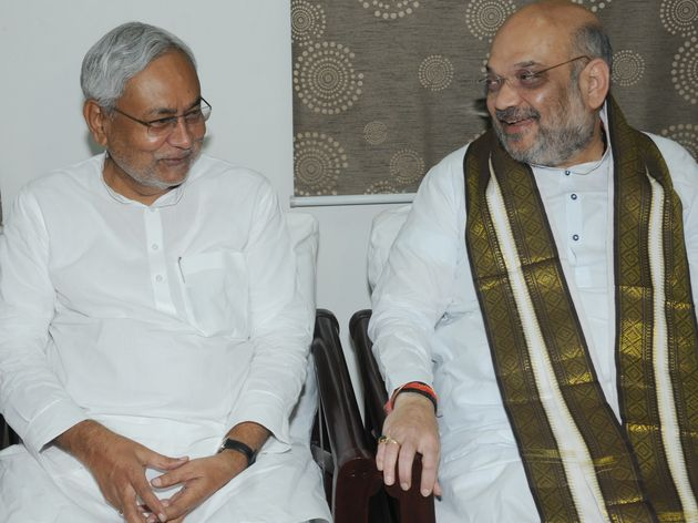 Janata Dal (United) Supremo Nitish Kumar (Left) and BJP President Amit Shah (Right) in a file photo....