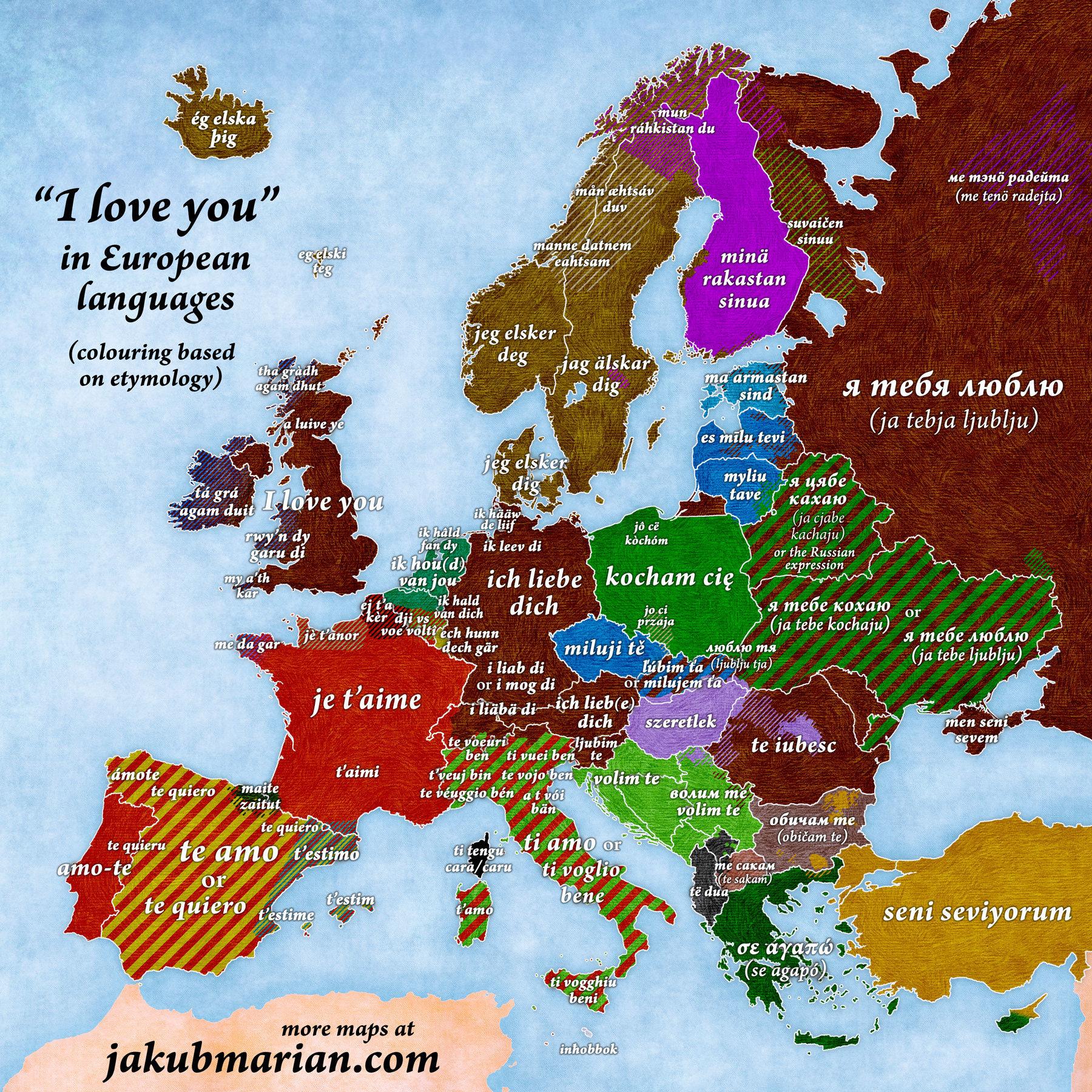 Ένας χάρτης μας μαθαίνει να λέμε «Σ' αγαπώ» σε όλες τις ευρωπαϊκές