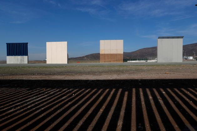 Border wall prototypes stand in San Diego near the Mexico US border, seen from Tijuana,