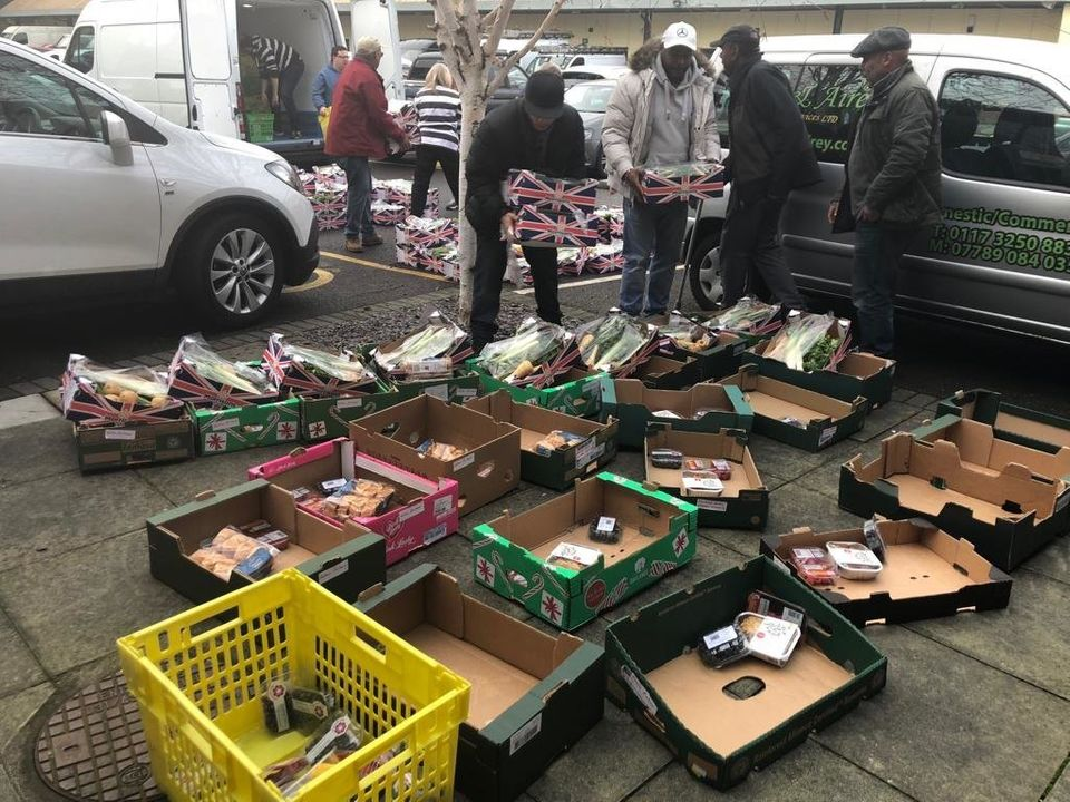 Volunteers were surrounded by crates and hamper