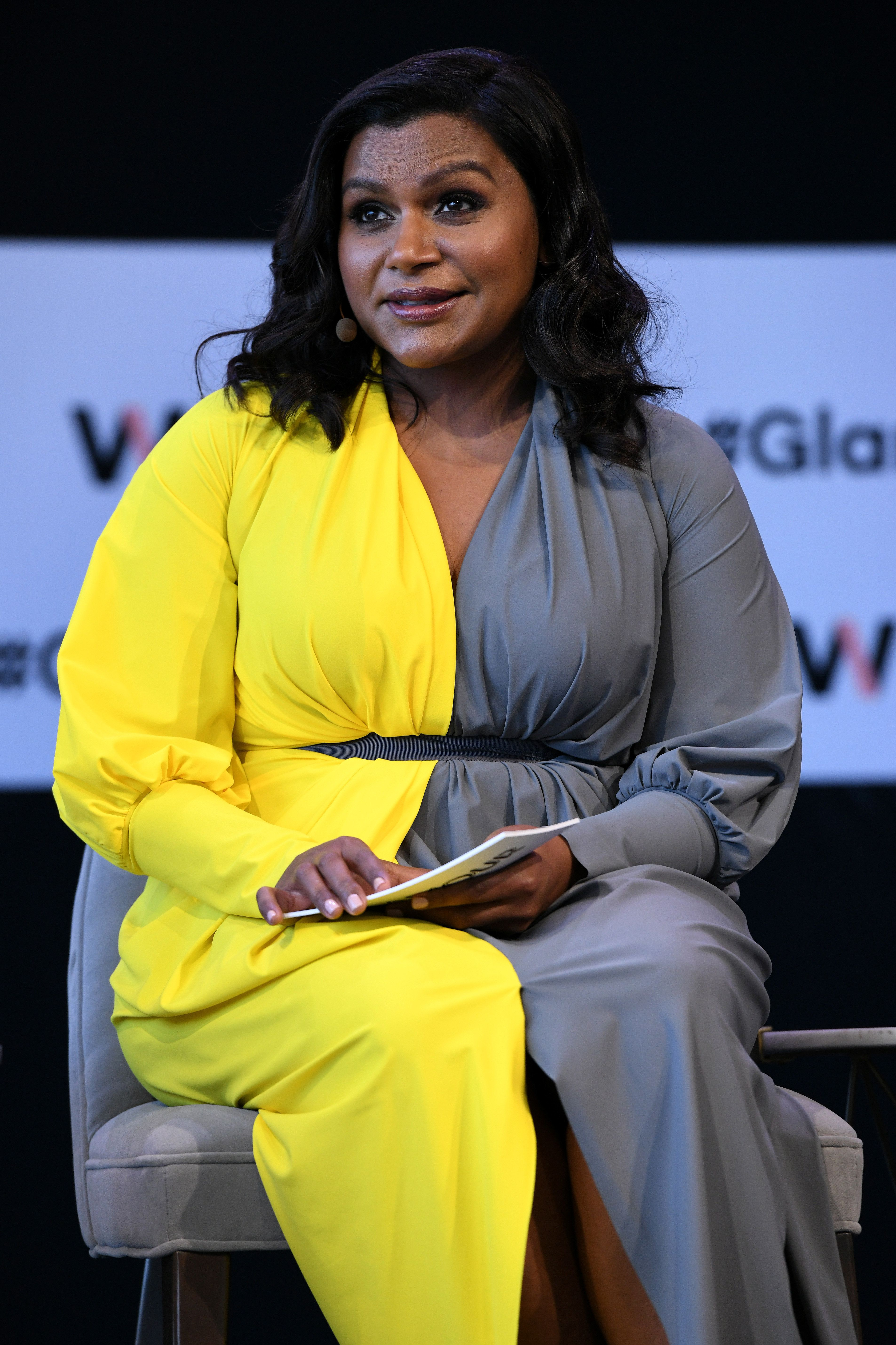 NEW YORK, NY - NOVEMBER 11:  Mindy Kaling speaks onstage during 'Closing The Dream Gap: Showing Girls (and Ourselves) What's Next' panel at 2018 Glamour Women Of The Year Summit:  Women Rise at Spring Studios on November 11, 2018 in New York City.  (Photo by Craig Barritt/Getty Images for Glamour)