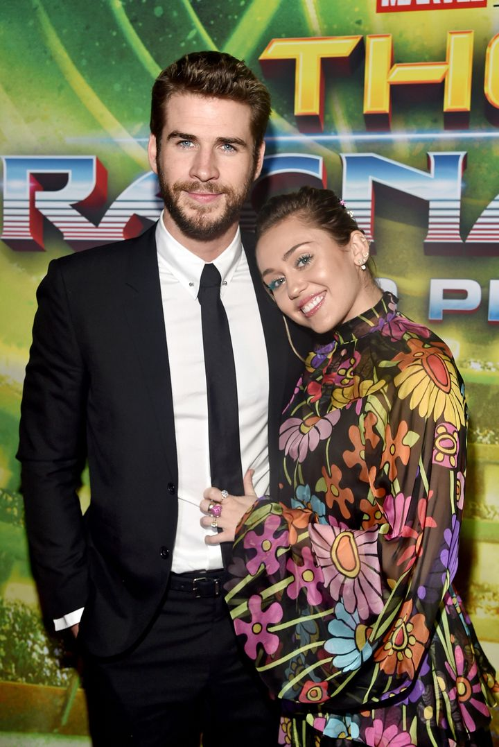 """Liam Hemsworth and Miley Cyrus at The World Premiere of Marvel Studios' """"Thor: Ragnarok"""" on Oct. 10, 2017 in Hollywood."""