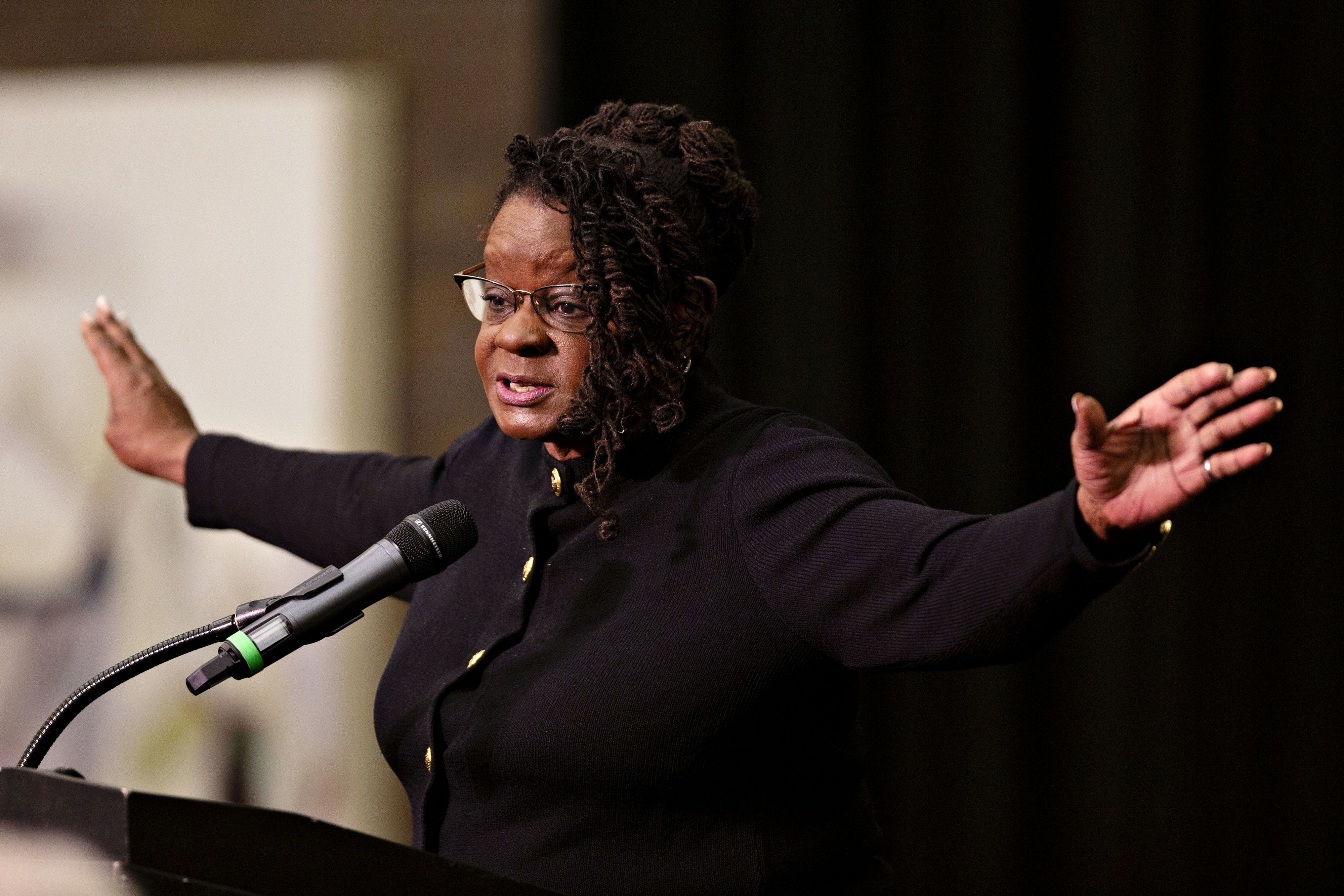 Representative Gwen Moore, a Democrat from Wisconsin, speaks during a campaign rally for Democratic candidates in Milwaukee, Wisconsin, U.S., on Monday, Oct. 22, 2018. Senator Bernie Sanders visited Wisconsin as part of a nine-state swing with to give a boost to progressive candidates ahead of the November 6 midterm elections. Photographer: Daniel Acker/Bloomberg via Getty Images