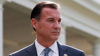 Rep. Thomas Suozzi, D-N.Y., pauses while speaking with the media in front of the West Wing after a bipartisan meeting with President Donald Trump at the White House, Wednesday, Sept. 13, 2017, in Washington. (AP Photo/Alex Brandon)