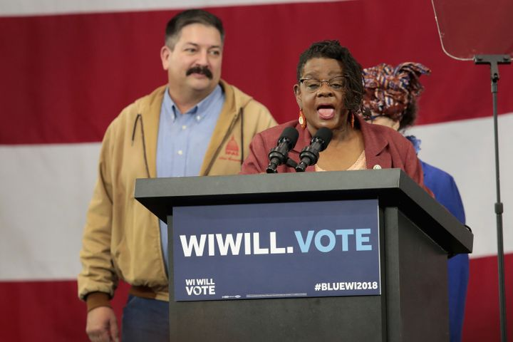 Rep. Gwen Moore (D-Wis.), center, speaks at a rally for Wisconsin Democrats, including Randy Bryce (left), on Oct. 26 in