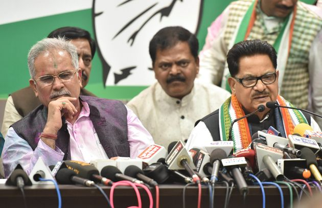 Chhattisgarh chief minister Bhupesh Baghel and senior Congress leader P.L.Punia in a file