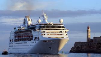 "(170424) -- HAVANA, April 24, 2017 (Xinhua) -- Cruise liner ""Empress of the Seas"" arrives in Havana April 23, 2017, the second vessel of the U.S. company Royal Caribbean to visit Cuba. (Xinhua/Joaquin Hernandez) (rtg) (ah) (zy) (Photo by Xinhua/Sipa USA)"