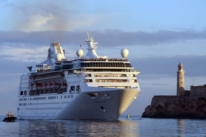 The Royal Caribbean cruise liner Empress of the Seas is seen in Havana, Cuba. On Friday, the cruise ship reportedly rescued t