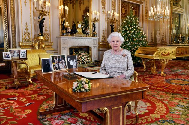 Britain's Queen Elizabeth poses for photos after recording her annual Christmas Day