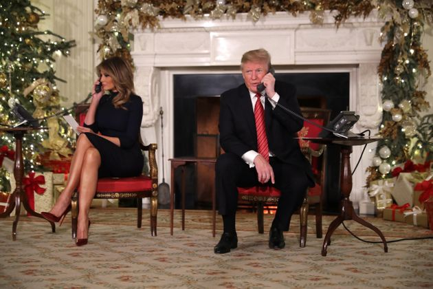 US President Donald Trump and first lady Melania Trump take calls from children. The North American Aerospace...
