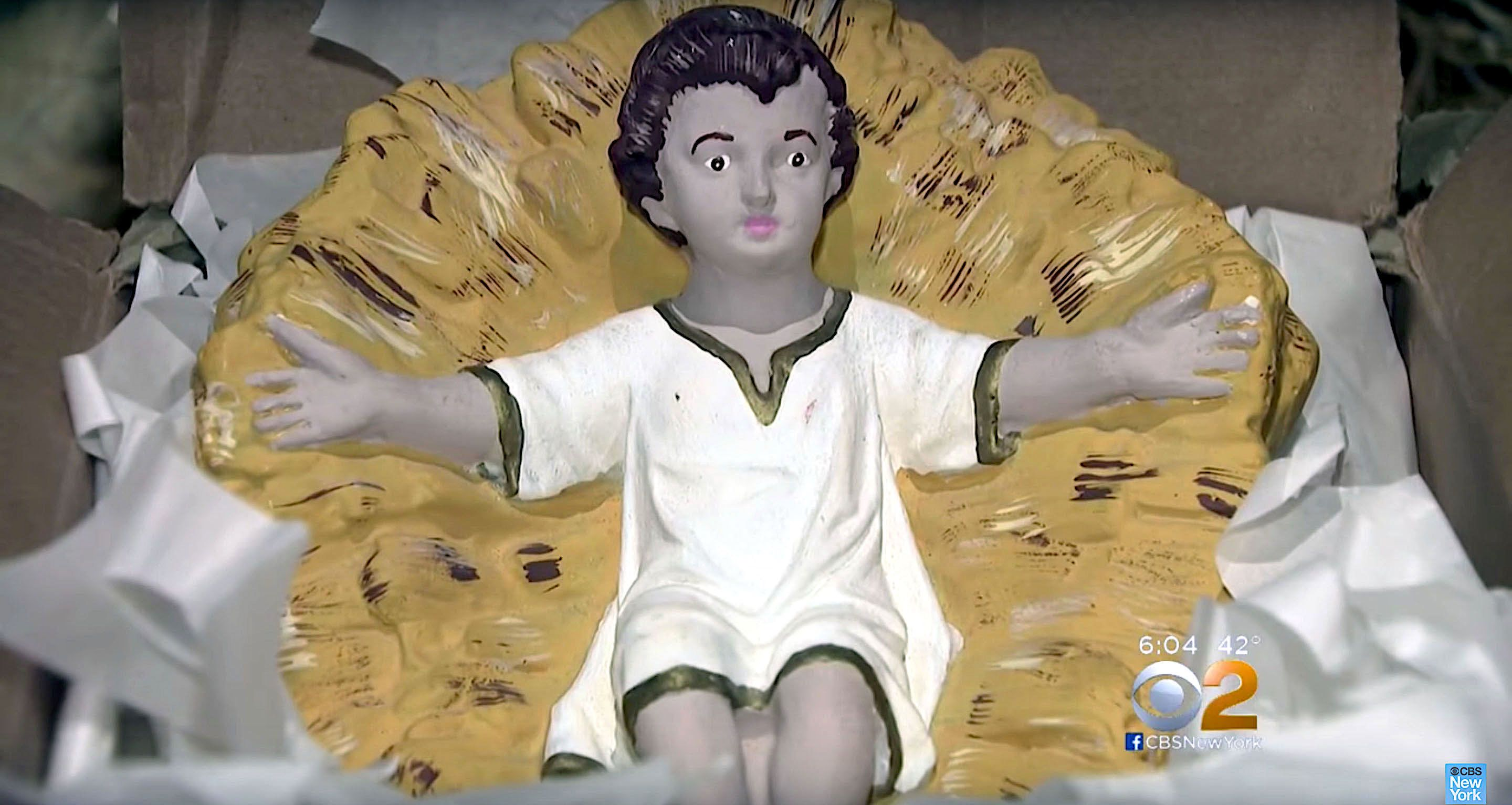 Baby Jesus statue is returned to church in Hoboken, New Jersey, more than 80 years after it was stolen.