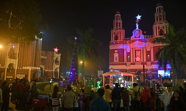On the eve of Christmas, Sacred Heart Cathedral Church in New Delhi is decorated with