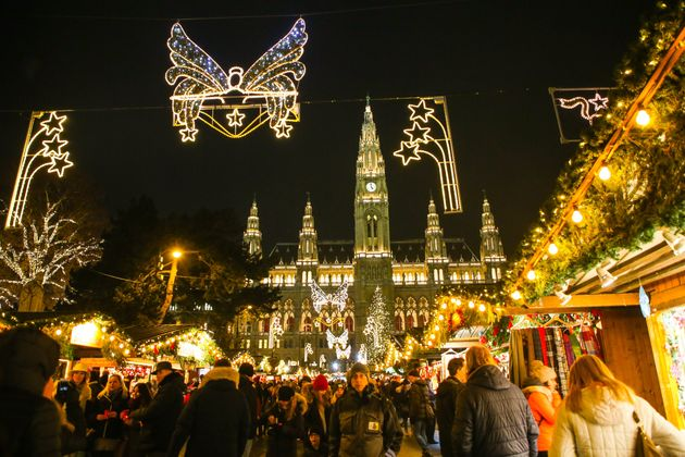 Christmas decorations and traditional Christmas market in front of Viena City Hall in Vienna,