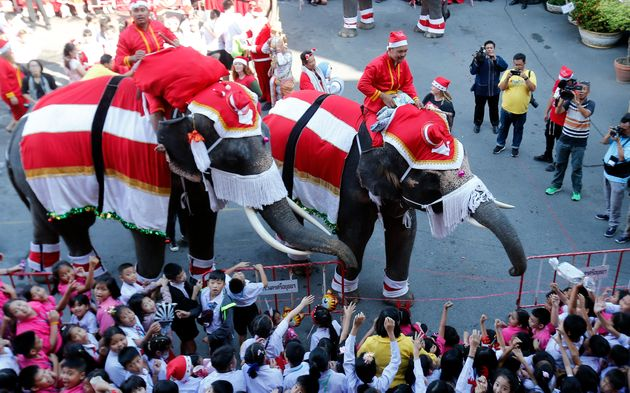 Elephants in Santa Claus costumes perform for students during Christmas celebrations at the Jirasart...