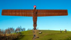 Antony Gormley's Angel Of The North Dons A Santa Hat For