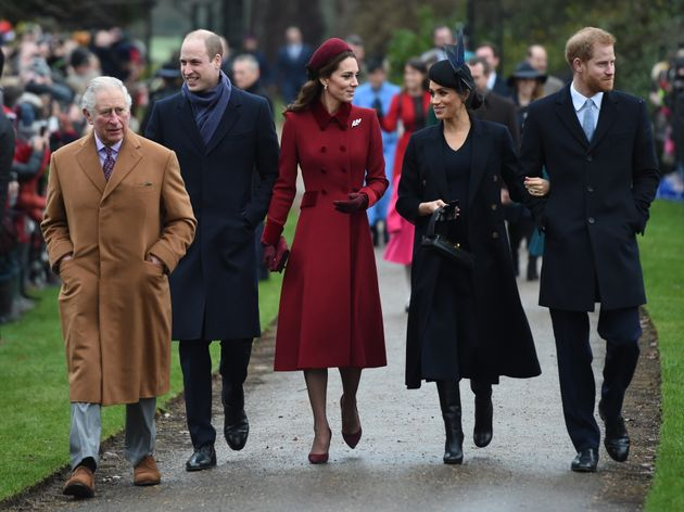 Left to right, the Prince of Wales, the Duke of Cambridge, the Duchess of Cambridge, the Duchess of Sussex...