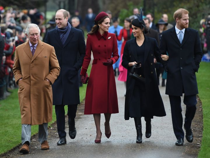 The Prince of Wales, the Duke of Cambridge, the Duchess of Cambridge, the Duchess of Sussex and the Duke of Sussex arrive to