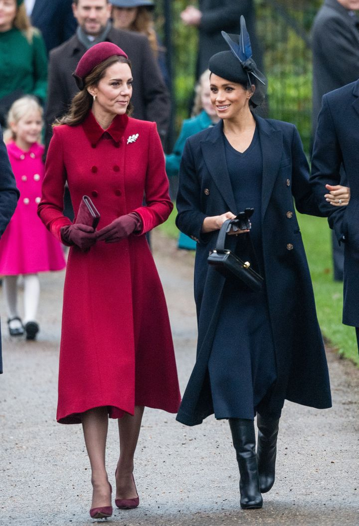 Kate Middleton and Meghan Markle wore strikingly different looks to the church service.