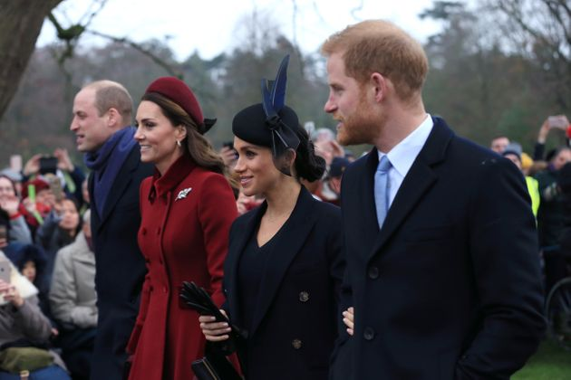 The Duke and Duchess of Cambridge and the Duke and Duchess of Sussex arrive to attend the Christmas morning...