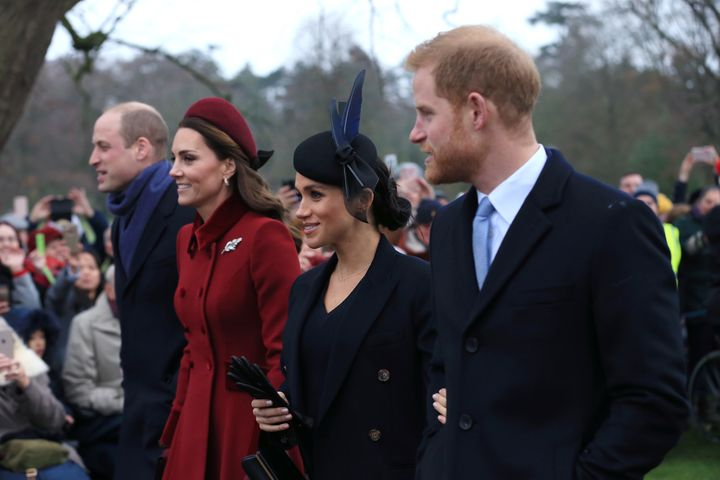 The Duke and Duchess of Cambridge and the Duke and Duchess of Sussex arrive to attend the Christmas morning church service at