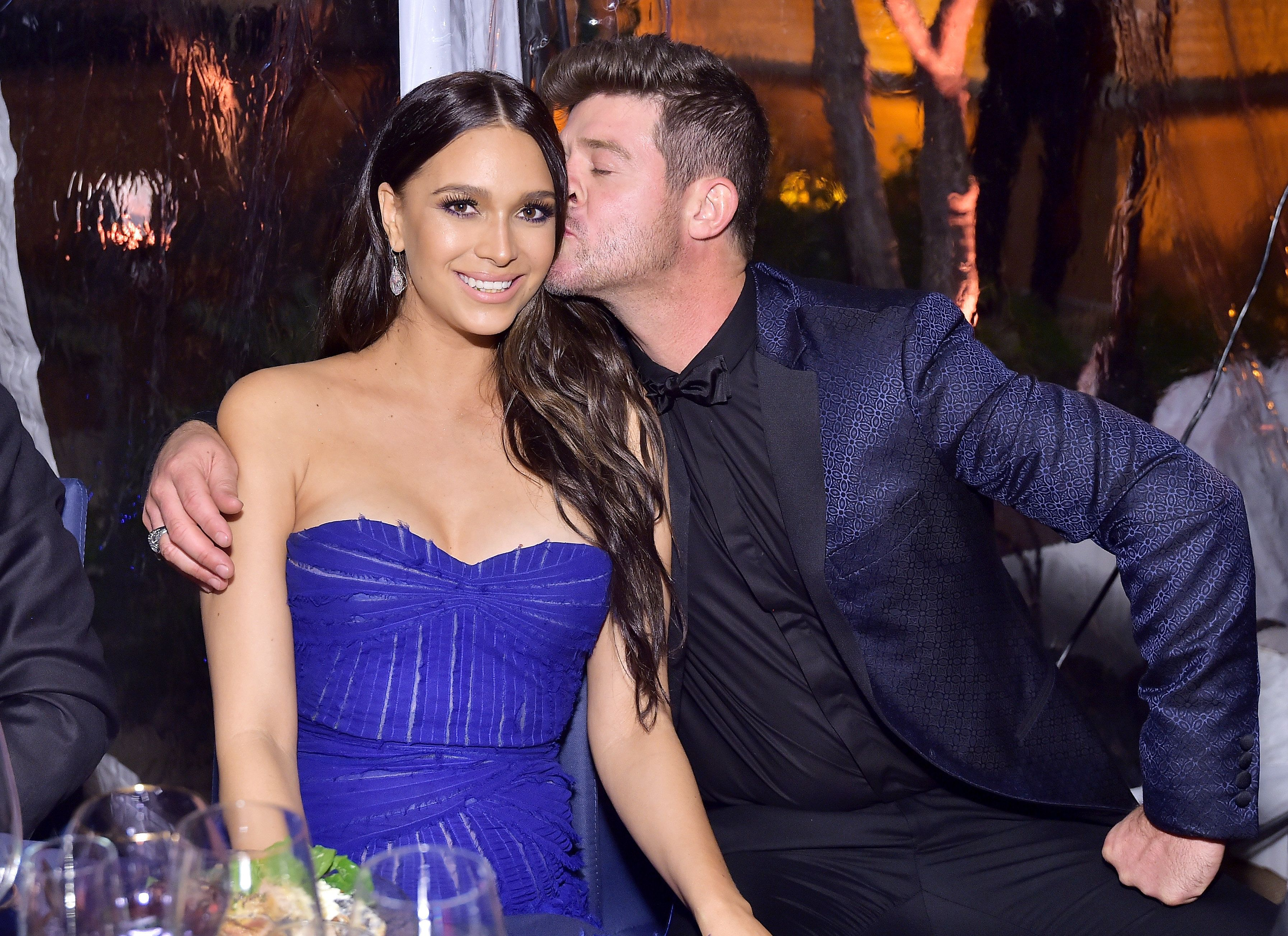 April Love Geary and Robin Thicke, pictured in October, are now engaged and expecting their second child together in a few mo