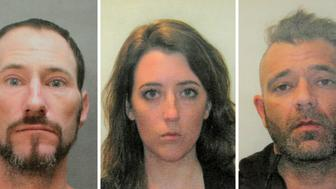FILE - This November 2018 file combination of photos provided by the Burlington County Prosecutors office shows Johnny Bobbitt, left, Katelyn McClure and Mark D'Amico. On Tuesday, Dec. 25, 2018, GoFundMe says it has made refunds to everyone who contributed to a campaign involving homeless veteran Bobbitt who prosecutors allege schemed with a New Jersey couple, McClure and D'Amico, to scam donors out of $400,000. (Burlington County Prosecutors Office via AP, File)